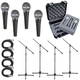 Shure 4 x SM48S Mic Pack W/Stands Cables Case    +