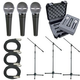 Shure 3 x SM48S Mic Pack W/Stands Cables Case    +