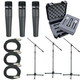 Shure 3 x SM57 Mic Pack W/Stands Cables Case     +