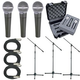 Shure 3 x SM58 Mic Pack W/Stands Cables Case     +