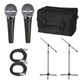 Shure 2 x SM48S Mic Pack W/Stands Cables Bag     +