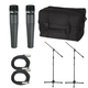 Shure 2 x SM57 Mic Pack W/Stands Cables And Bag  +