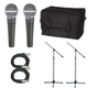 Shure 2 x SM58 Mic Pack W/Stands Cables And Bag  +