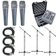 Shure 3 x BETA57A Mic Pack W/Stands Cables Case  +