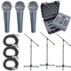 Shure 3 x BETA58A Mic Pack W/Stands Cables Case  +