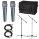 Shure 2 x BETA57A Mic Pack W/Stands Cables Bag   +