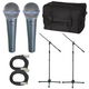Shure 2 x BETA58A Mic Pack W/Stands Cables Bag   +