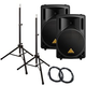 Behringer B212XL 12 in Passive PA Speakers w/ Stands +