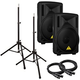Behringer B210D 10 in Powered PA Speakers Bundle +