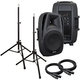 Gemini ES15BLU 15-Inch Powered Speakers Bundle