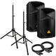 Behringer B112D 12 in Powered PA Speakers Bundle