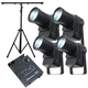 Eliminator Mini Spot LED Light 4-Pack w/ Stand & Chase Controller