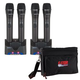 VocoPro UHR Rechargeable UHF WRLS Mics 4 w Bag