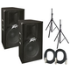 Peavey PV115D Powered Speakers (2) with Stands & Cables