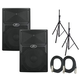 Peavey PVXp15 PA Speaker Bundle w/ Stands & Cables