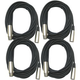 Microphone Cable 20ft XLR to XLR 4-Pack