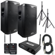 Alto Black 12 Powered Speakers (2) with Stealth Wireless System & Stands