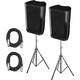 Peavey DM112 12-Inch Powered Speakers (2) with Stands & Cables