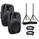 Gemini ES-12P Powered Speakers w/ Stands & Cables