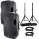 Gemini AS15BLU Bluetooth Powered Speakers (2) with Stands & Cables