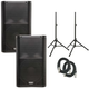 QSC K12 Powered Speakers (Pair) w/ Stands & Cables
