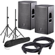 DAS Action 12A Powered Speakers w/ Stands & Cables
