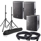 DAS Vantec 15A (2) & Vantec 18A Powered Speakers with Stands & Cables