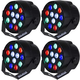 Solena Mini Par 12 DMX 12x1W RGBW LED Light 4 Pack