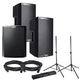 Alto TS212 (2) & TS218S Powered Speakers Bundle with Gator Stands