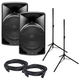 Alto TX15USB 15-Inch Powered Speakers with Stands & Cables