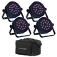 Bam Par RGB 1x18W LED Light 4 Pack w/ Travel Bag