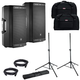 JBL EON612 Powered Speakers Bundle with Totes & Gator Stands