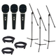 Audio Technica ST90MkII Microphone 3-Pack with Mic Stands & Cables
