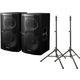 "Pioneer XPRS12 12"" Powered Speakers (2) & Ultimate TS100 Stands"