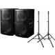 Pioneer XPRS15 Powered Speakers (2) & TS100 Stands