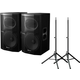 Pioneer XPRS15 Powered Speakers (2) & TS80 Stands