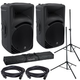 Mackie SRM450V3 12-Inch Powered Speakers (2) with Gator Stands