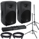 Mackie SRM350V3 10-Inch Powered Speakers (2) with Gator Stands