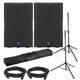 Turbosound M12 Powered Speakers w/ Gator Stands