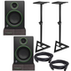 Mackie CR4 Powered Studio Monitors with Stands & Isolation Pads