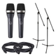 AKG D5 Dynamic Vocal Mic 2-Pack with Stands & Cables