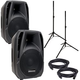 American Audio ELS12A Powered Speakers with Stands & Cables