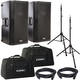 QSC K12 Powered Speakers with Ultimate TS100 Stands & Totes