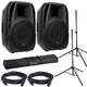 American Audio ELS15BT Powered Speakers with Gator Stands