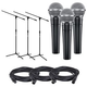 Shure SM58 Vocal Mic 3-Pack with Stands & Cables