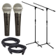 Shure SM58 Mic with On/Off Switch Pair plus Stands & Cables