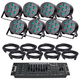 Solena Max Par 70 Quad LED 8-Pack with DMX Controller