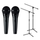 Shure PGA58-XLR Dynamic Vocal Mic Pair with Stands