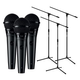 Shure PGA58-XLR Dynamic Vocal Mic 3-Pack with Stands
