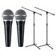 Shure PGA48-XLR Dynamic Vocal Mic Pair with Stands